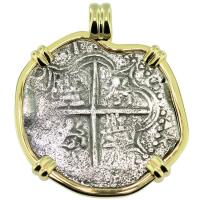 SOLD #9178 Atocha Shipwreck 4 Reales Pendant; Please Explore Our Spanish Shipwreck Pendants For Similar Items.