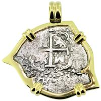 SOLD #9179 Spanish 1715 Fleet Shipwreck 2 Reales Pendant; Please Explore our Spanish Shipwreck Pendants for Similar Items.