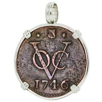 #9185 Dutch VOC Duit Pendant