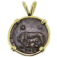 SOLD #9186 She Wolf & Roma Nummus Pendant; Please Explore Our Roman Category For Similar Items.