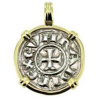 #9202 Crusader Cross Denaro Pendant