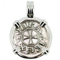#9203 Crusader Cross Denaro Pendant