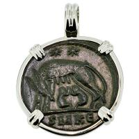 SOLD #9215 She Wolf & Roma Nummus Pendant; Please Explore Our Roman Category For Similar Items.