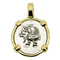 Hindu Cambodian Hamsa Bird 1 Fuang, circa 1847 in 14k gold pendant.