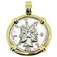 SOLD Janus & Roma Denarius Pendant; Please Explore Our Roman Pendants For Similar Items.