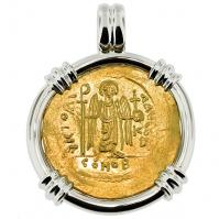 Byzantine AD 582-602, Angel and Emperor Tiberius gold solidus in 14k white gold pendant.