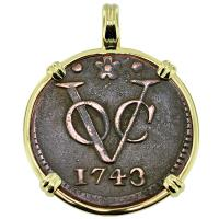 #9245 Dutch VOC Duit Pendant