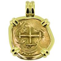 SOLD #9249 Philip IV Two Escudos Doubloon Pendant; Please Explore Our Gold Coin Pendants For Similar Items.