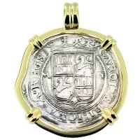 SOLD #9251 Golden Fleece Shipwreck 2 Reales Pendant; Please Explore Our Spanish Shipwreck Pendants For Similar Items.
