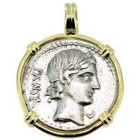 SOLD #9260 Apollo & Minerva Denarius Pendant; Please Explore Our Roman Pendants For Similar Items.
