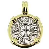 #9261 Crusader Cross Denaro Pendant