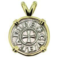 SOLD #9267 Crusader Cross Denaro Pendant; Please Explore Our Medieval Pendants For Similar Items.