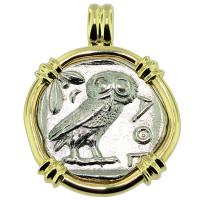 #9289 Owl and Athena Tetradrachm Pendant