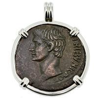 SOLD Caesar Augustus Dupondius Pendant; Please Explore Our Roman Pendants For Similar Items.