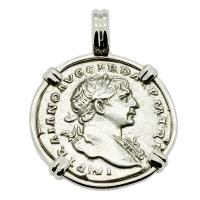 Roman Empire AD 103 - 111, Emperor Trajan and Roma denarius in 14k white gold pendant.