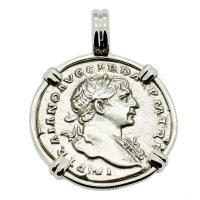Emperor Trajan and Roma Denarius Pendant
