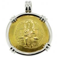 Byzantine AD 1059-1067, Jesus Christ and Constantine X gold nomisma in 14k white gold pendant.
