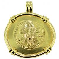 Byzantine AD 1071-1078, Jesus Christ and Michael VII gold nomisma in 14k gold pendant.
