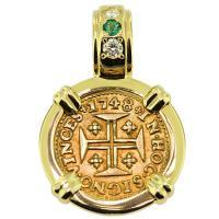 SOLD Portuguese 400 Reis Pendant; Please Explore Our Gold Coin Pendants For Similar Items.