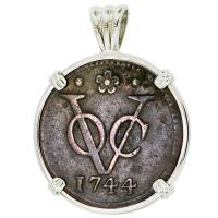 #9302 Dutch VOC Duit Pendant