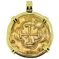#9306 Philip II Two Escudos Doubloon Pendant