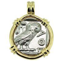 #9345 Owl and Athena Tetradrachm Pendant