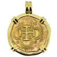 SOLD Philip II Two Escudos Doubloon Pendant; Please Explore Our Spanish Treasure Pendants For Similar Items.