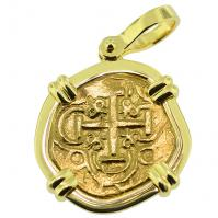 #9358 Charles II Two Escudos Doubloon Pendant
