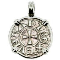 #9374 Crusader Cross Denaro Pendant