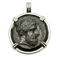 Greek Syracuse 344-336 BC, Zeus and thunderbolt bronze coin in 14k white gold pendant.