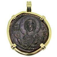 SOLD Virgin Mary and Jesus Follis Pendant; Please Explore Our Byzantine Category For Similar Items.