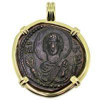 #9389 Virgin Mary & Jesus Follis Pendant