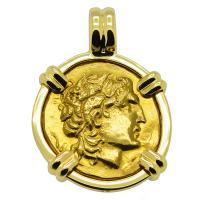 Greek 305-281 BC, Alexander the Great gold stater in 18k gold pendant.