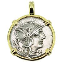 SOLD #9400 Roma and Mars Denarius Pendant; Please Explore Our Roman Pendants For Similar Items.