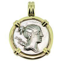 SOLD #9401 Diana Denarius Pendant; Please Explore Our Roman Pendants For Similar Items.