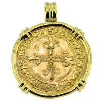 SOLD #9406 French King Francis I Ecu Pendant; Please Explore Our Gold Coin Pendants For Similar Items.