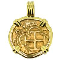SOLD Philip II One Escudo Pendant; Please Explore Our Gold Coin Pendants For Similar Items.