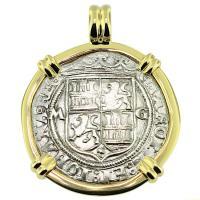 SOLD #9408 Golden Fleece Shipwreck 2 Reales Pendant; Please Explore Our Spanish Shipwreck Pendants For Similar Items.
