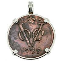 #9422 Dutch VOC Duit Pendant