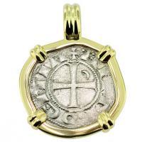 SOLD #9429 Crusader Cross Denier Pendant; Please Explore Our Medieval Pendants For Similar Items.