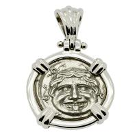 Greek 350-300 BC, Gorgon and Bull Hemidrachm in 14k white gold pendant.