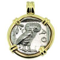#9449 Owl and Athena Tetradrachm Pendant