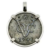 #9455 Dutch VOC Duit Pendant