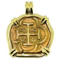 SOLD King Philip IV Four Escudos Pendant; Please Explore Our Spanish Treasure Pendants For Similar Items.