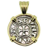 SOLD #9481 Crusader Cross Denaro Pendant; Please Explore Our Medieval Pendants For Similar Items.