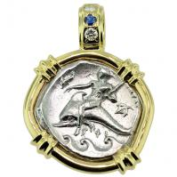 Greek - Italy 290-280 BC, Taras riding Dolphin and Horseman nomos in 14k gold pendant with diamonds & sapphire.