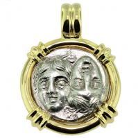 SOLD Dioscuri Twins Drachm Pendant; Please Explore Our Greek Pendants For Similar Items.
