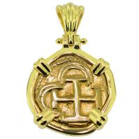 SOLD King Philip II One Escudo Pendant; Please Explore Our Spanish Treasure Pendants For Similar Items.