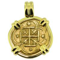 SOLD Philip IV Two Escudos Doubloon Pendant; Please Explore Our Gold Coin Pendants For Similar Items.