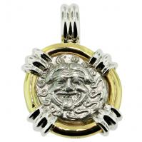 Greek 450-400 BC, Gorgon and anchor drachm in 14k white & yellow gold pendant.